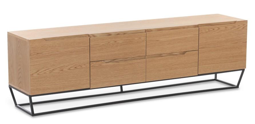 meuble tv bois plaqu ch ne et structure m tal noir blina. Black Bedroom Furniture Sets. Home Design Ideas