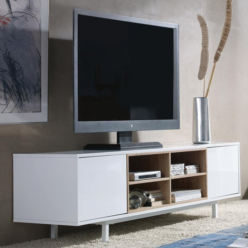 meuble tv ch ne et laque blanc taly. Black Bedroom Furniture Sets. Home Design Ideas