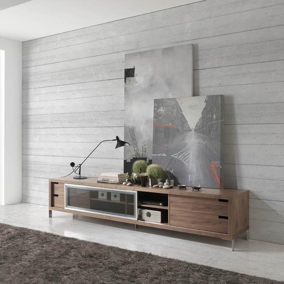 meuble tv comtemporain bois noyer et acier inoxydable loza. Black Bedroom Furniture Sets. Home Design Ideas