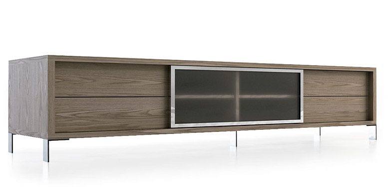 meuble tv contemporain bois plaqu noyer et acier inoxydable loza. Black Bedroom Furniture Sets. Home Design Ideas