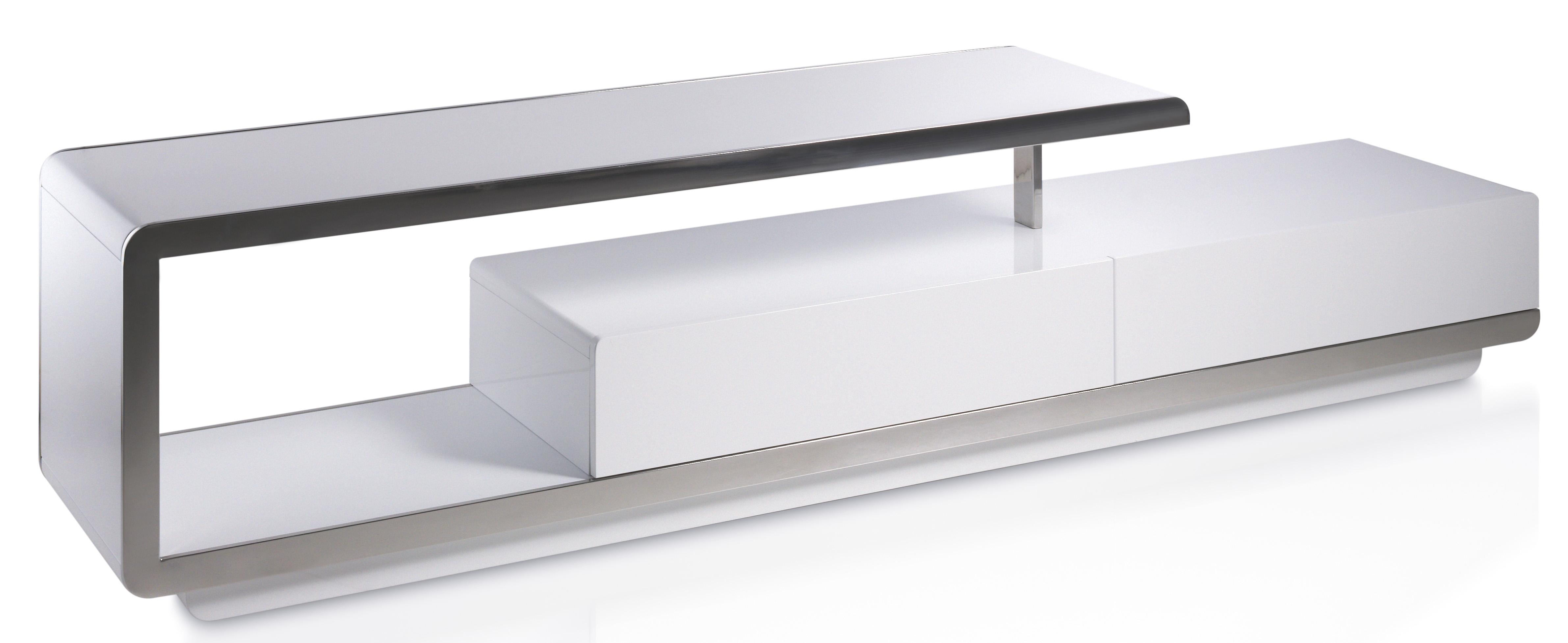 Meuble Tv Design 2 Tiroirs Bois Laque Blanc Et Acier Chrome Modena