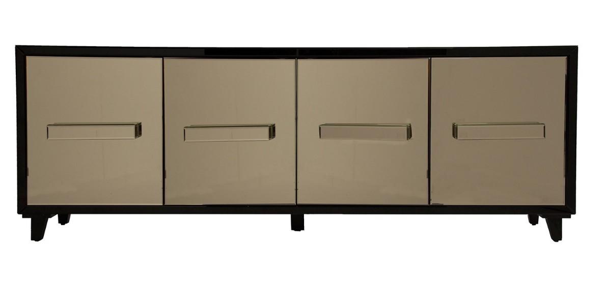 Meuble tv design 4 portes miroir teint dor art 39 s for Miroir sejour design