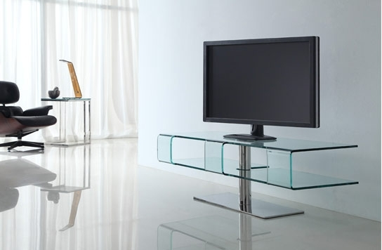 Meuble tv design en verre balenca for Meuble tv en verre design