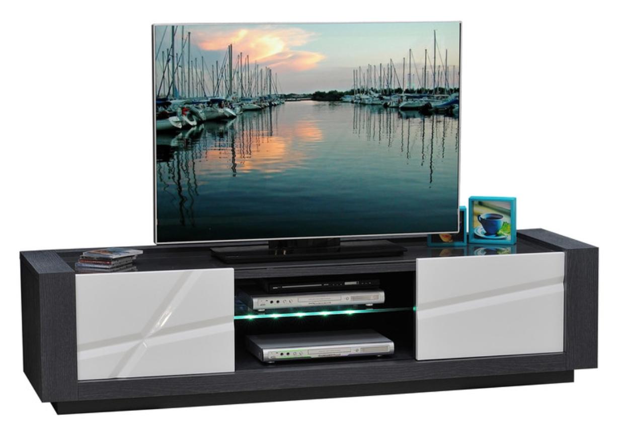 Meuble Tv 2 Portes Avec Leds Blanc Laqu Et Gris Kantz  # Meuble Tv Avec Fond
