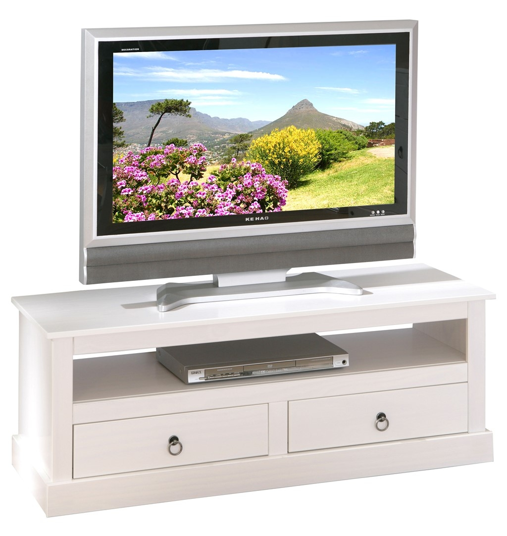 Meuble tv en pin massif blanc prince for Meuble tv pin