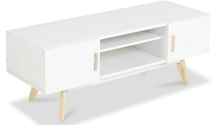 Meuble tv fois naturel et blanc scandinave for Meuble tv scandinave