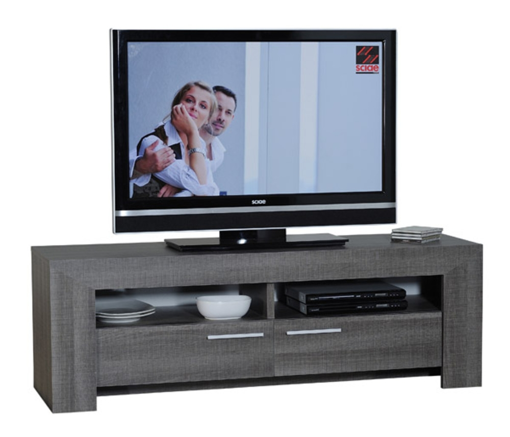 Meuble tv gris fonc lathi 56 for Meuble tv bas gris