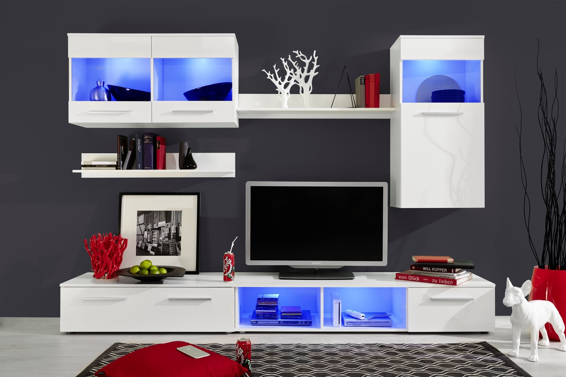 meuble tv laqu blanc led siska iii. Black Bedroom Furniture Sets. Home Design Ideas