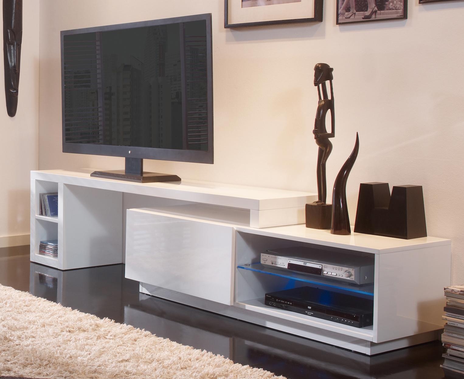 Meuble tv modulable led blanc laqu urban - Meuble tv a composer modulable ...