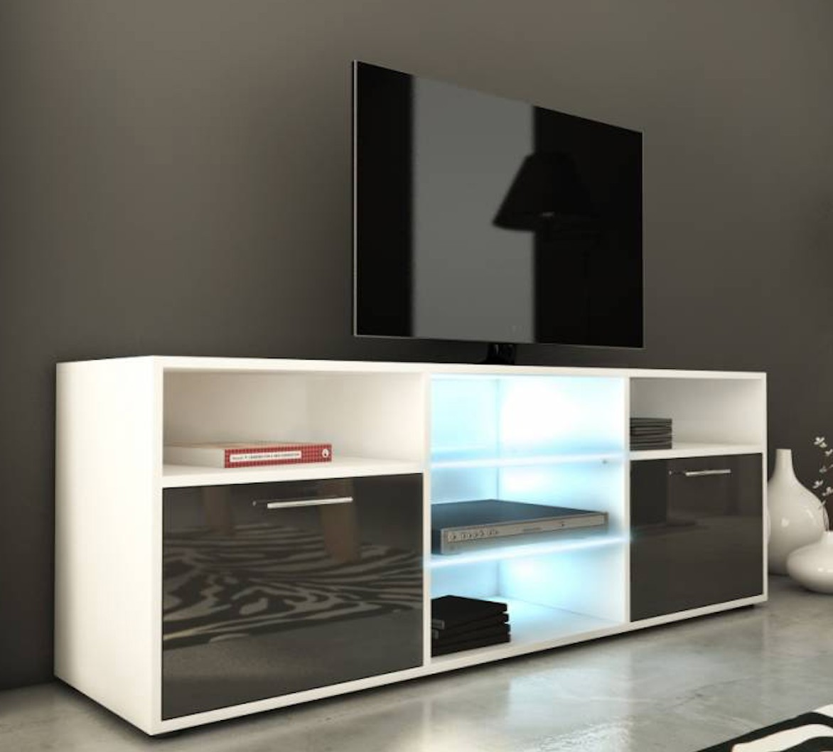 meuble tv laqu blanc et gris led lukio. Black Bedroom Furniture Sets. Home Design Ideas