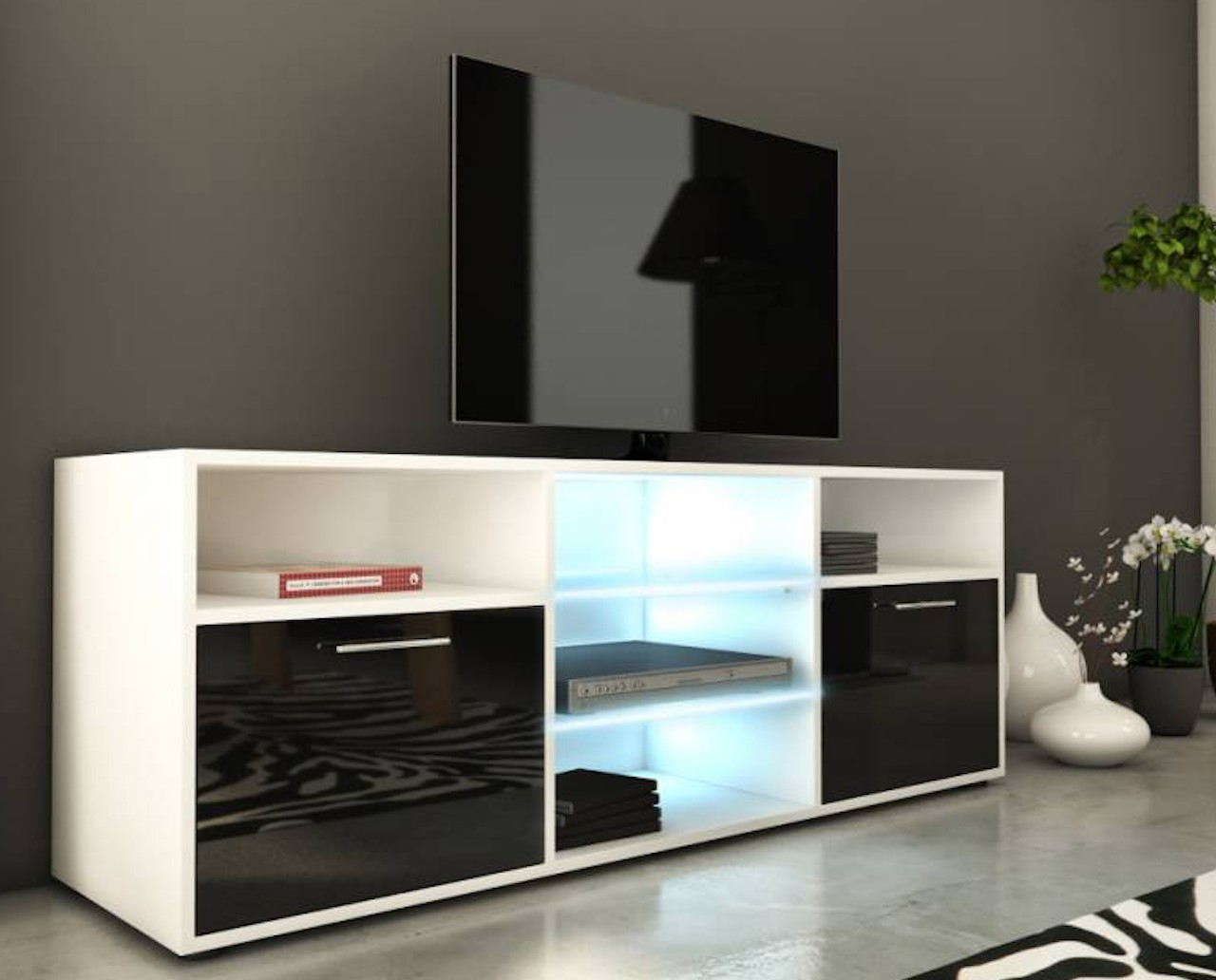 meuble tv laqu blanc et noir led lukio. Black Bedroom Furniture Sets. Home Design Ideas