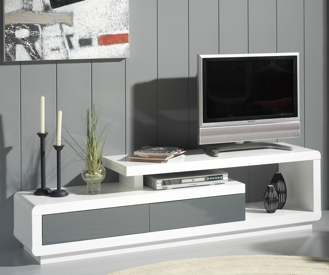 meuble tv laqu blanc benji. Black Bedroom Furniture Sets. Home Design Ideas