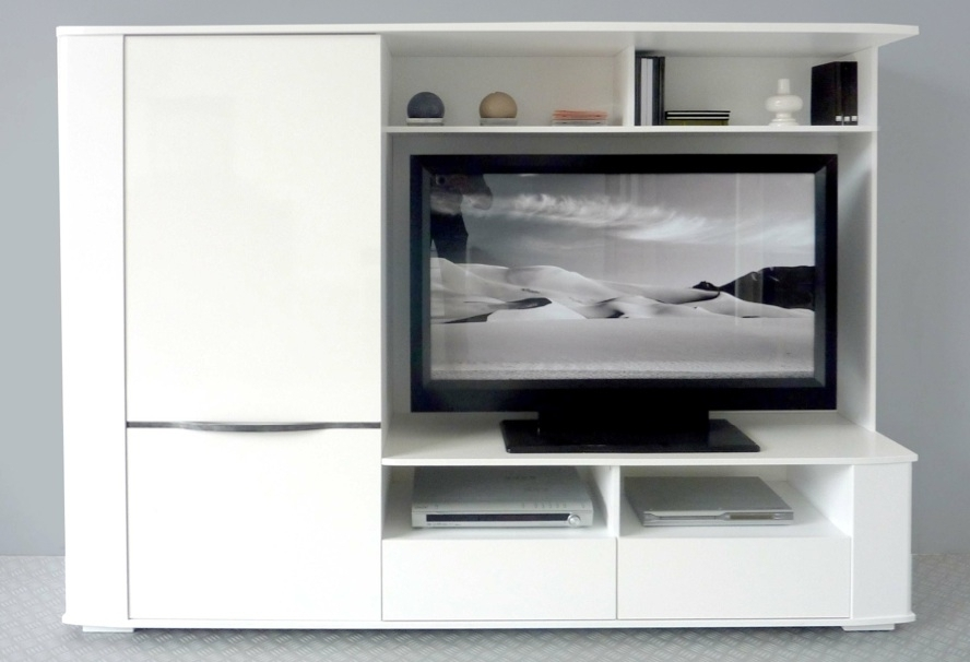 Meuble tv living laque blanc cyrus - Meuble living tv design ...