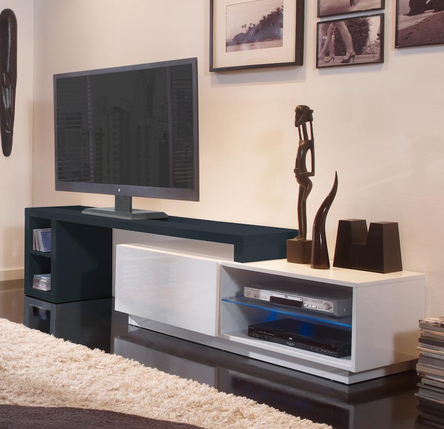 meuble tv modulable led laqu blanc et gris urban. Black Bedroom Furniture Sets. Home Design Ideas