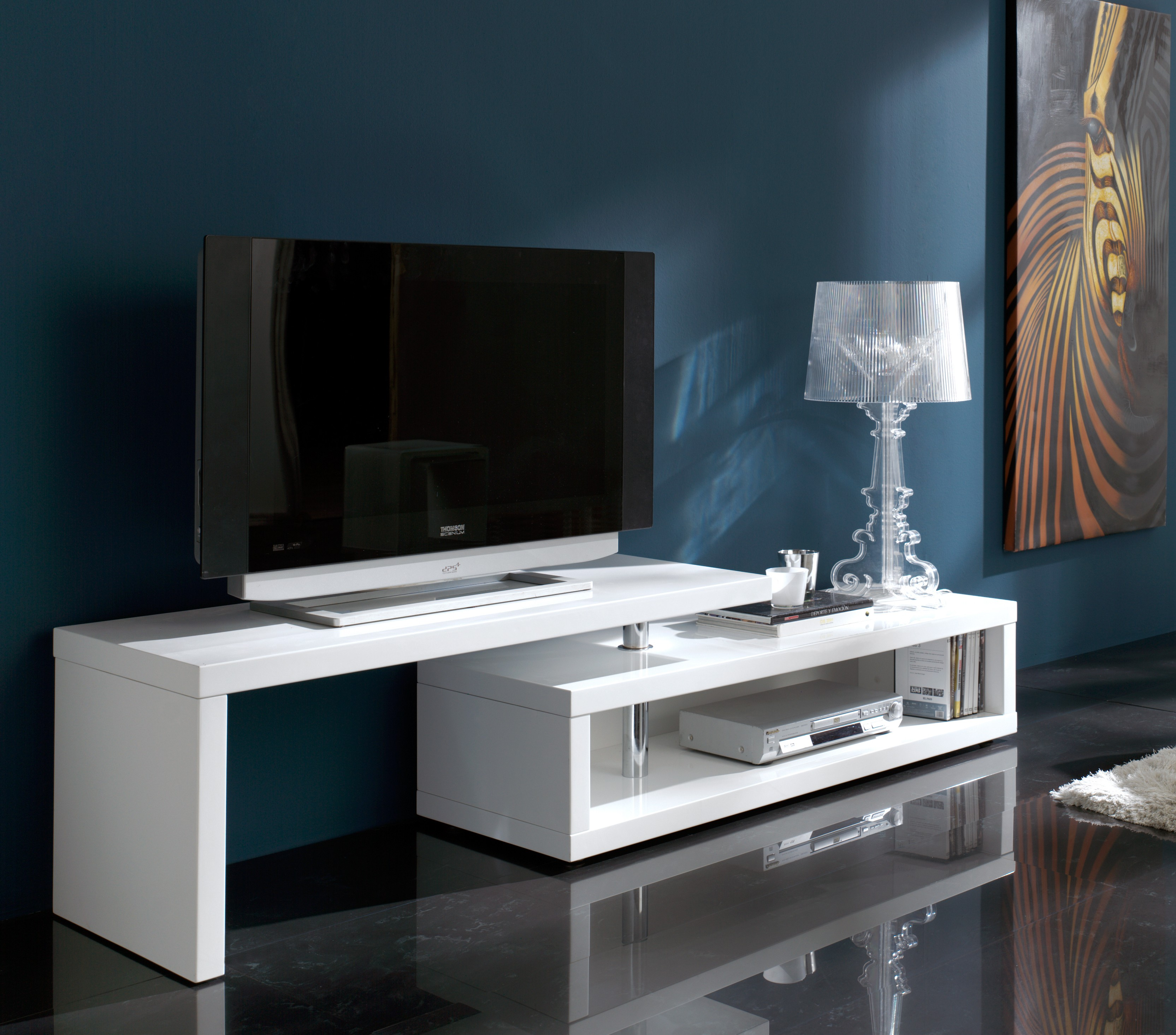 meuble tv modulable blanc laqu oracle. Black Bedroom Furniture Sets. Home Design Ideas