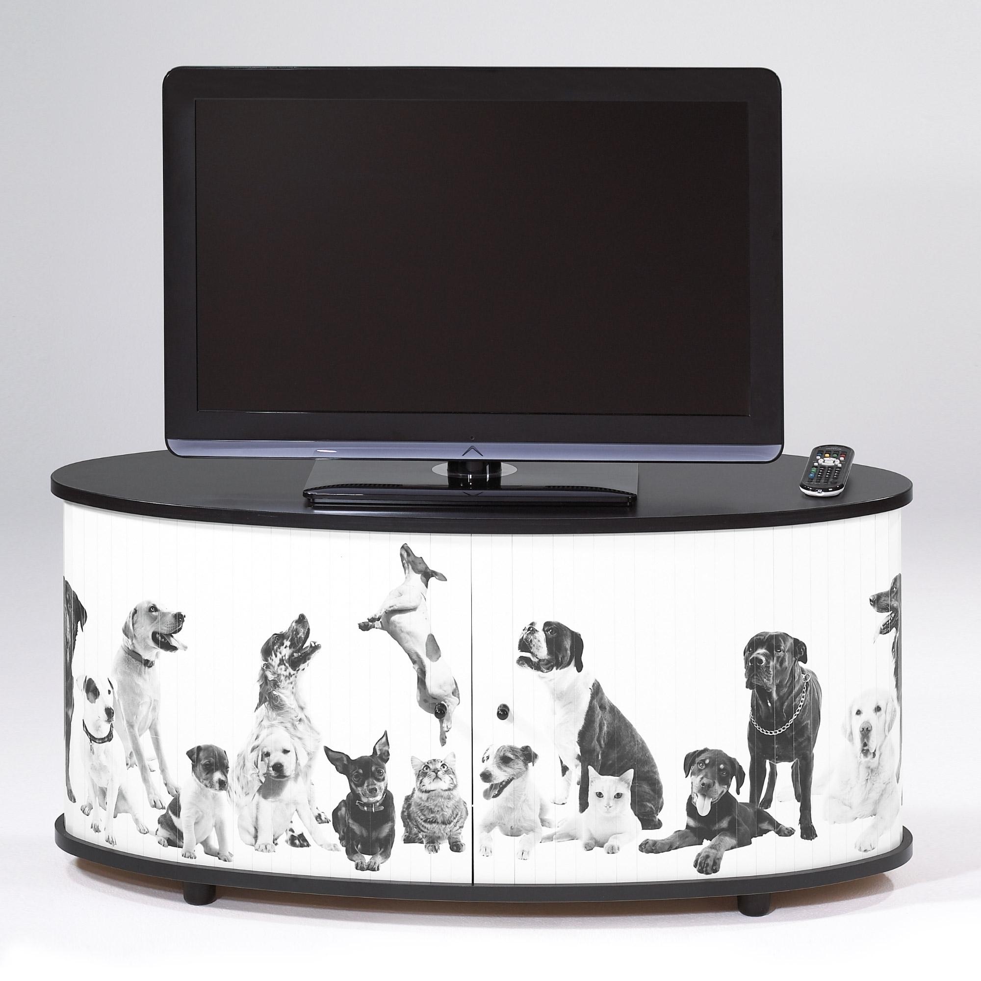 Meuble tv rideaux coulissant animaux desky for Meuble tv coulissant