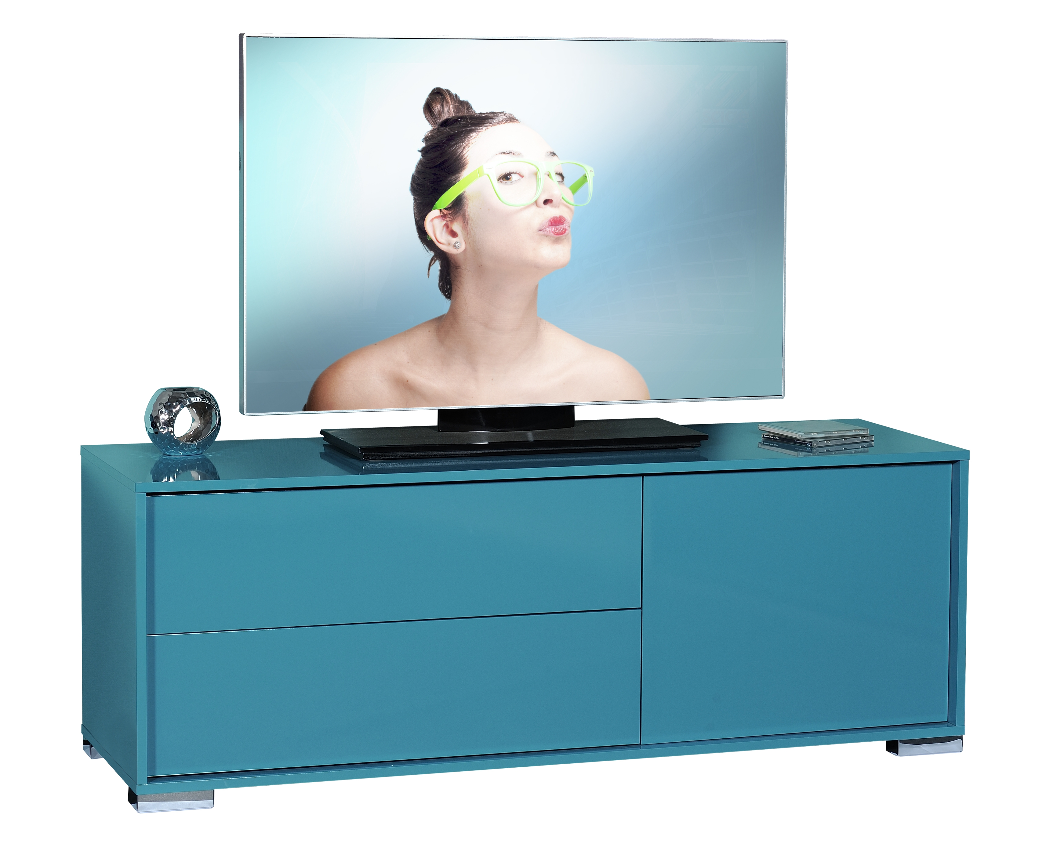 Meuble TV Bleu brillant Like  LesTendancesfr -> Meuble Tv Bleu