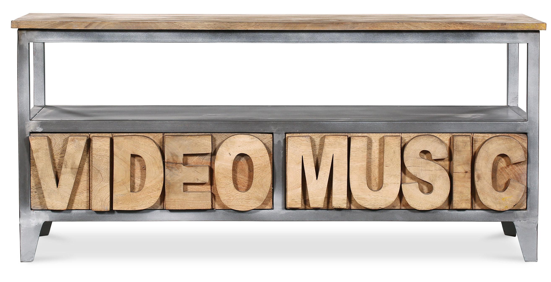 meuble-tv-original-bois-manguier-et-metal-tivi-114254 Meilleur De De Meuble Tele En Bois Des Idées