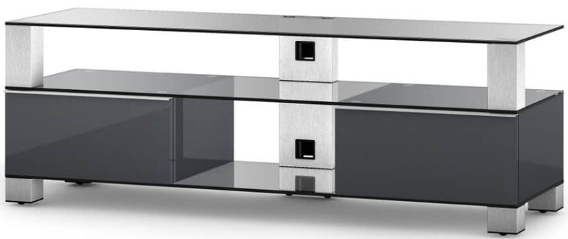 meuble tv verre tremp et laqu gris mood 140 cm. Black Bedroom Furniture Sets. Home Design Ideas