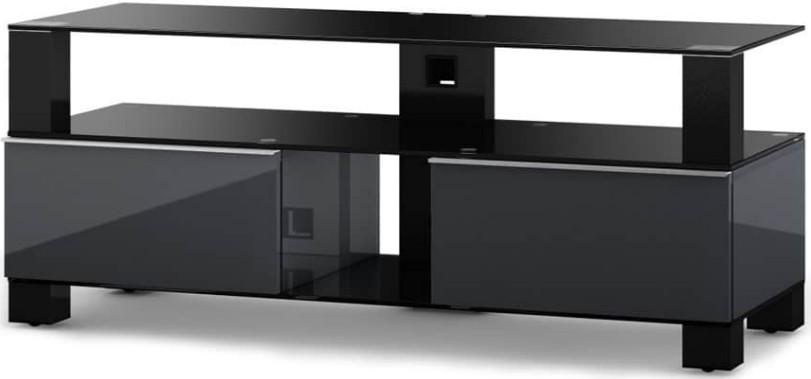 meuble tv verre tremp noir mood 120. Black Bedroom Furniture Sets. Home Design Ideas