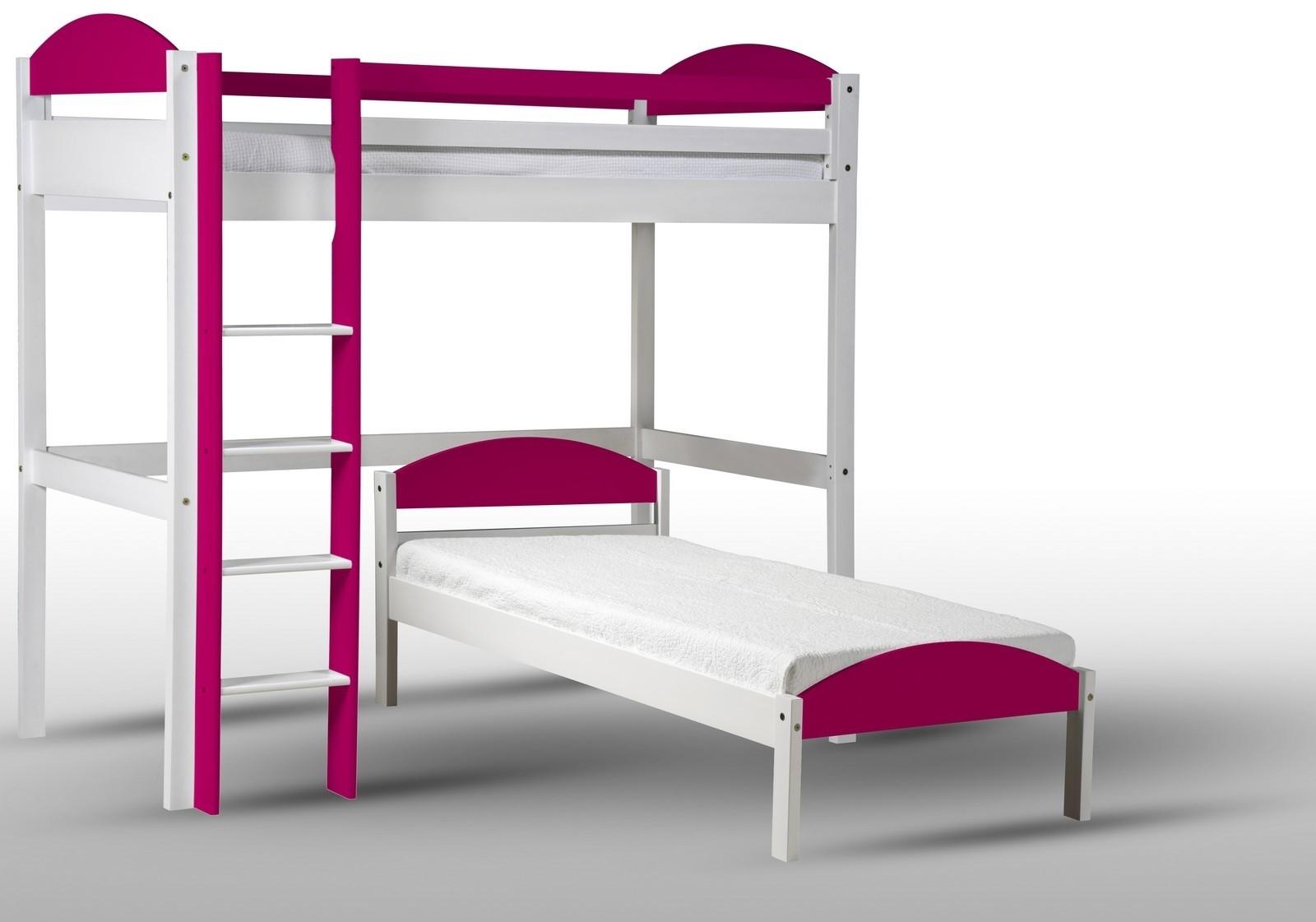 lit mezzanine en l pin blanc lasur et fuchsia aladin. Black Bedroom Furniture Sets. Home Design Ideas