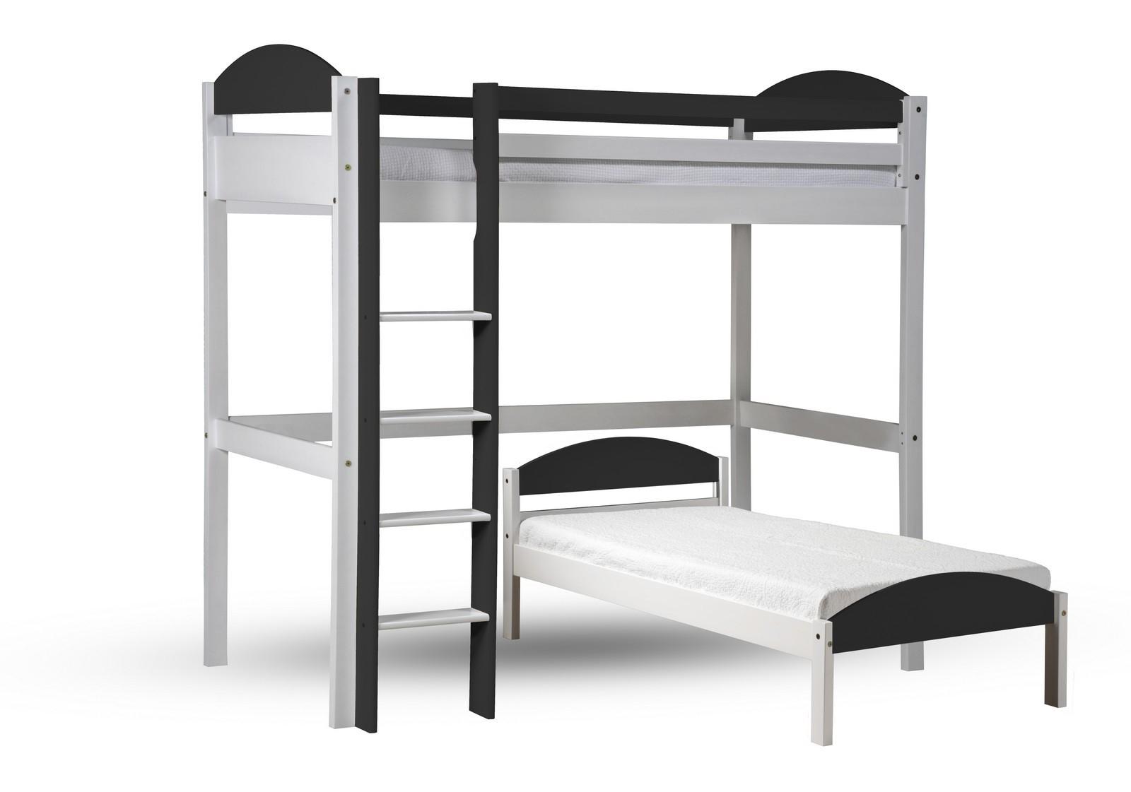lit mezzanine en l pin blanc lasur et gris aladin. Black Bedroom Furniture Sets. Home Design Ideas