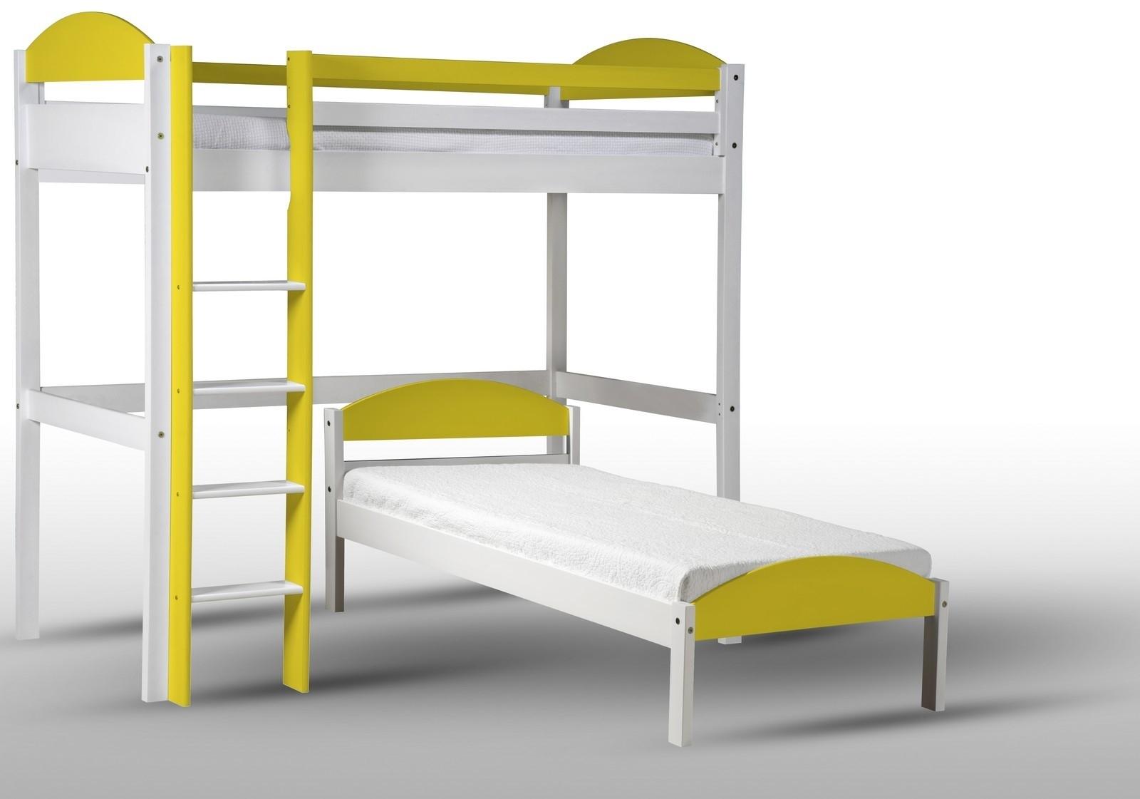 lit mezzanine en l pin blanc lasur et jaune aladin. Black Bedroom Furniture Sets. Home Design Ideas