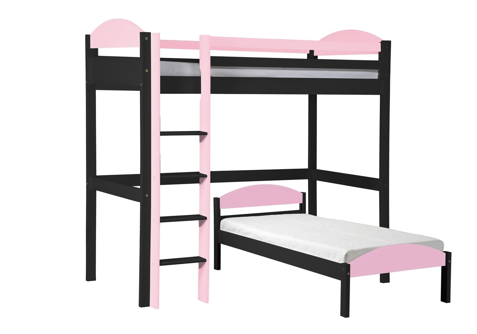 lit mezzanine en l pin gris et rose aladin. Black Bedroom Furniture Sets. Home Design Ideas