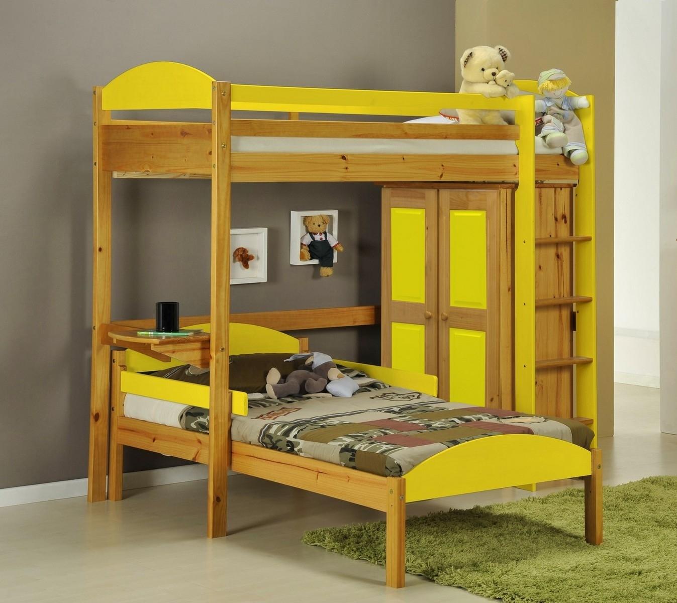 Lit mezzanine en l et placard tal boy pin miel et jaune aladin - Lit mezzanine placard ...