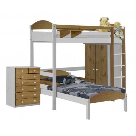 ensemble lit mezzanine en l placard commode pin blanc et miel aladin. Black Bedroom Furniture Sets. Home Design Ideas
