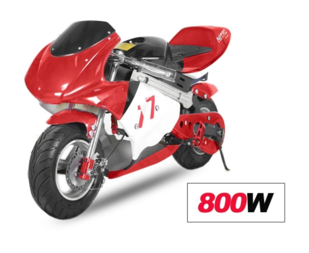 mini moto racing electrique 800w rouge. Black Bedroom Furniture Sets. Home Design Ideas
