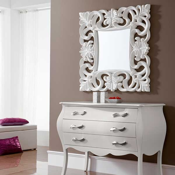 Miroir carr blanc blood 100 for Miroir carre blanc
