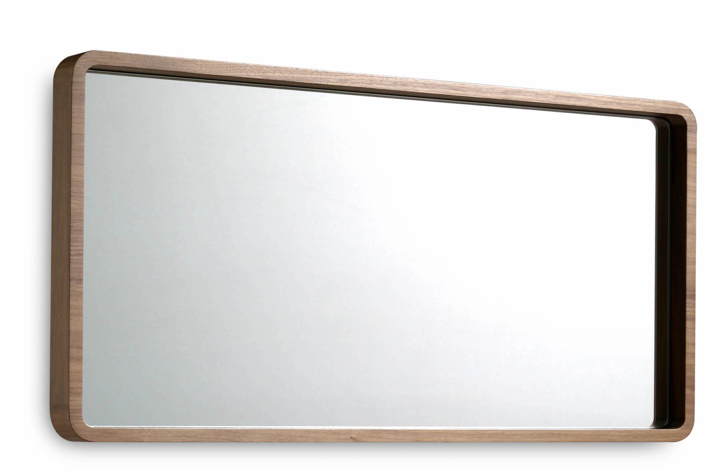 Miroir contemporain bois noyer Hena 100 cm