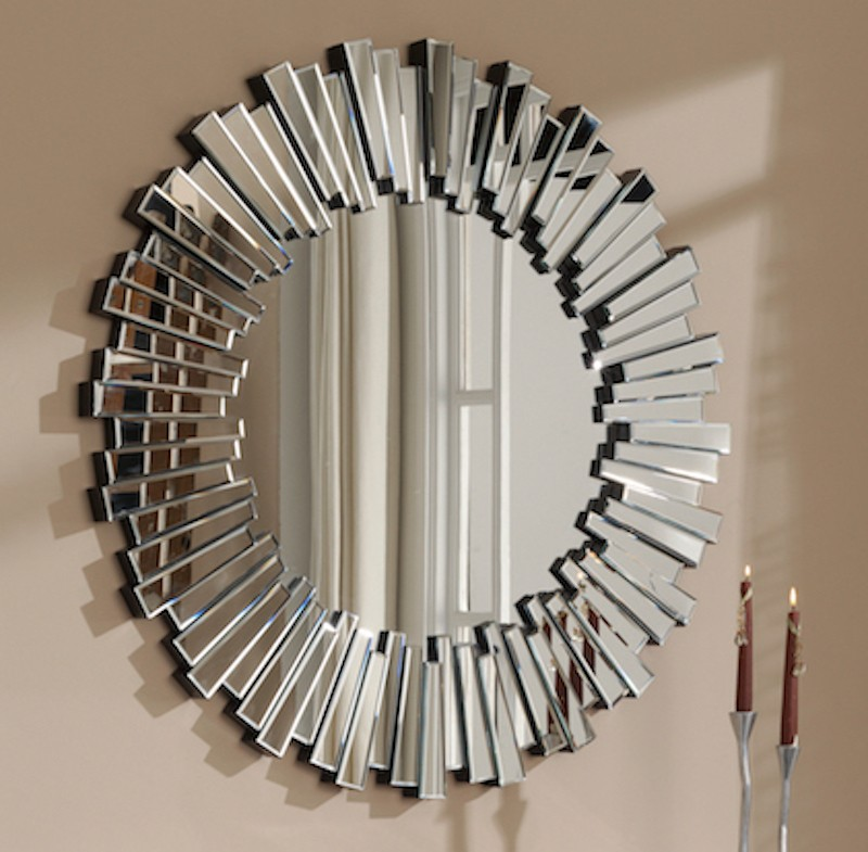 Miroir rond design en verre soleil for Miroir design soleil