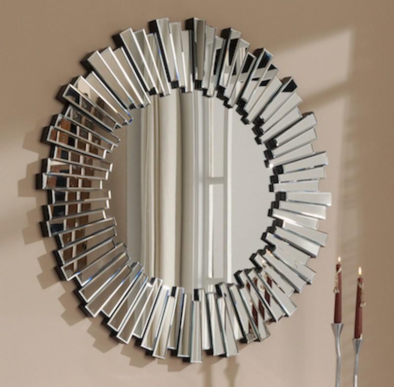 Miroir rond design en verre soleil for Miroir rond design