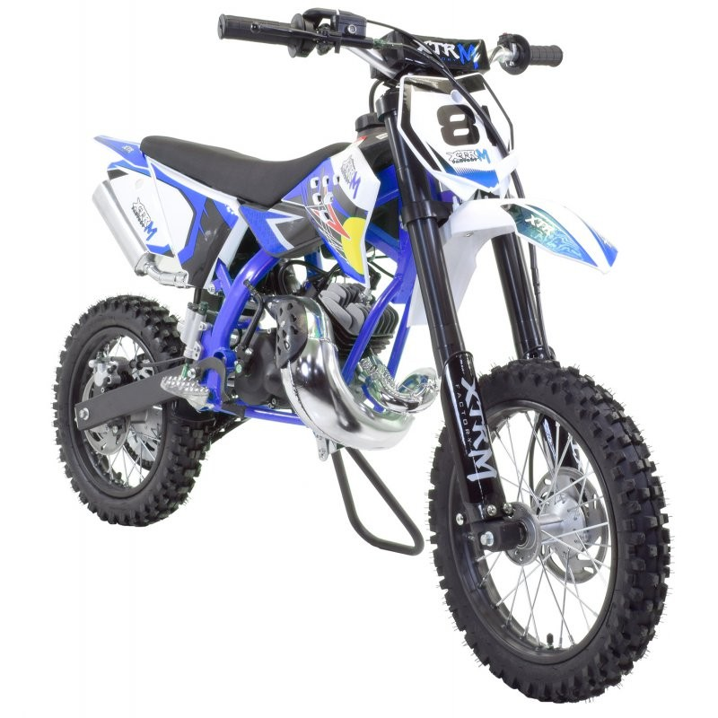 moto cross 50cc racing 14 12 9cv automatique kick starter bleu. Black Bedroom Furniture Sets. Home Design Ideas