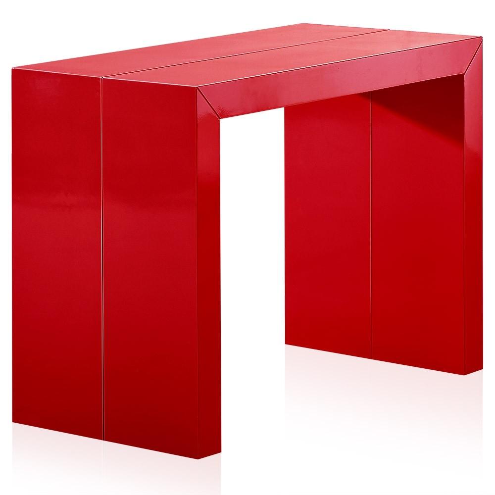 Console extensible laqu e rouge 50 250 cm 12 personnes - Console extensible 250 cm ...