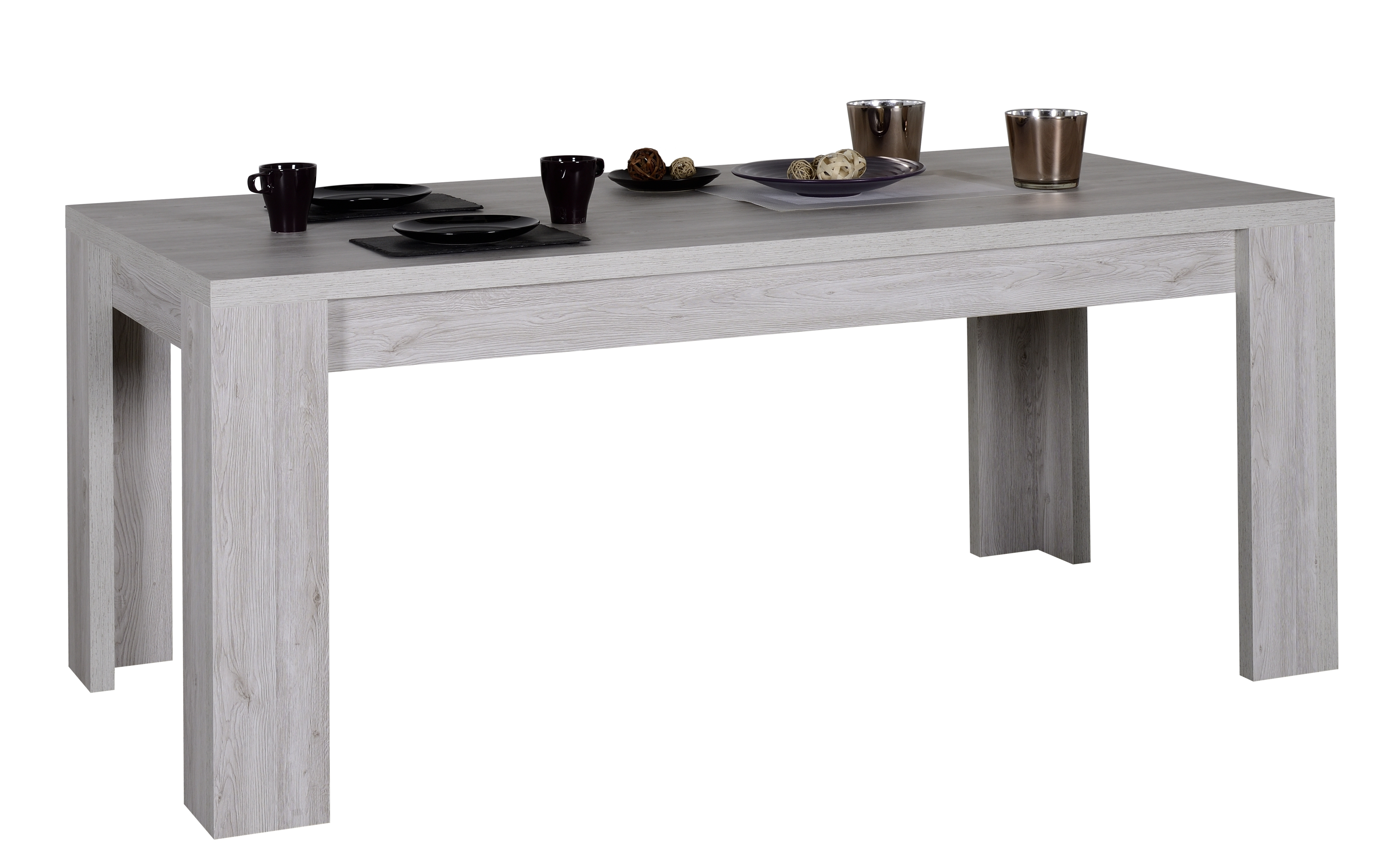 table manger rallonges ch ne gris maeva 180 260 cm. Black Bedroom Furniture Sets. Home Design Ideas