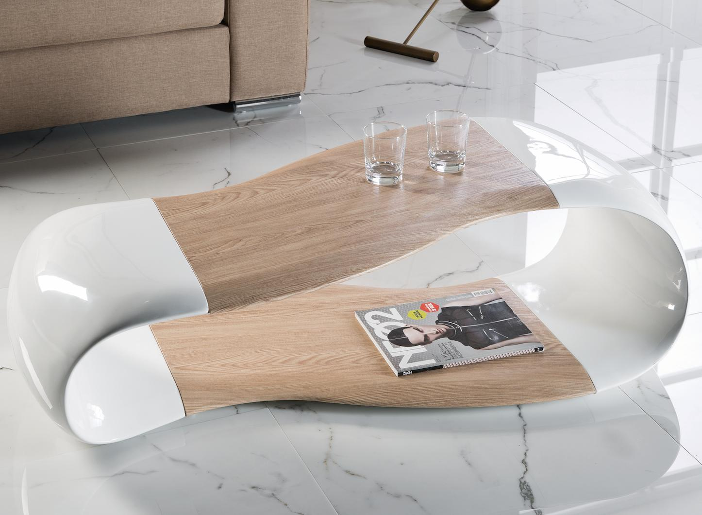table basse bois laqu et fibre de verre blanc art. Black Bedroom Furniture Sets. Home Design Ideas