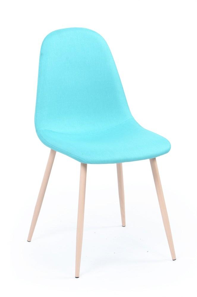 chaise pied métal bois assise tissu bleu loken - lestendances.fr - Chaise Pied En Bois