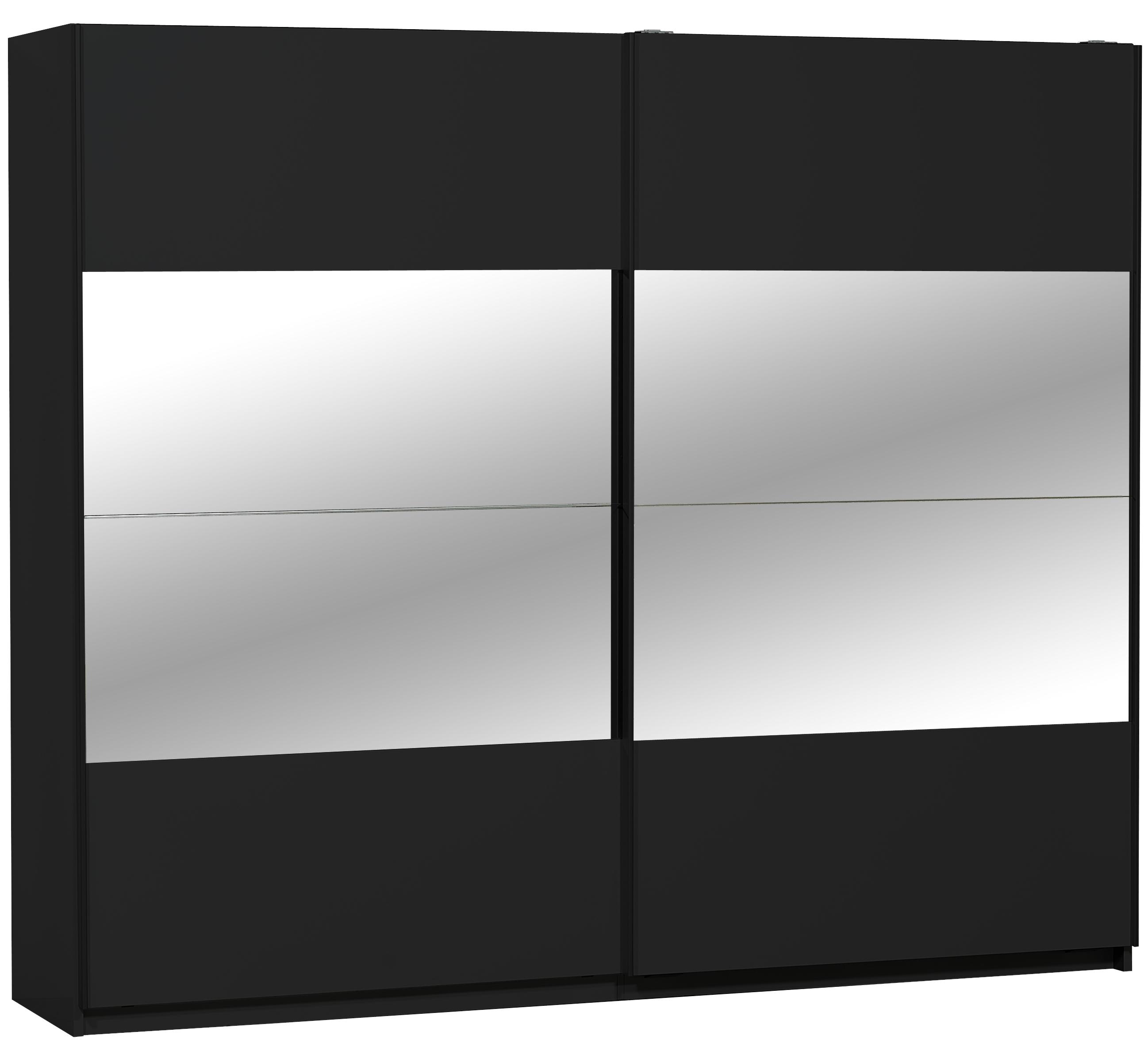 Armoire 2 portes coulissantes Noir et Miroir 260 cm Balus