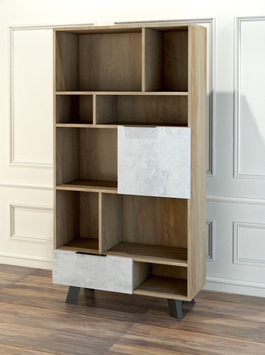 biblioth que naturel plateau imitation b ton kido. Black Bedroom Furniture Sets. Home Design Ideas