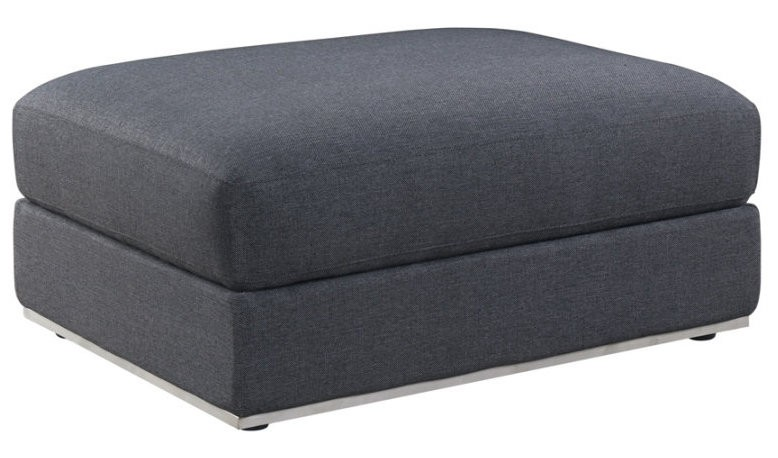 pouf moderne rectangulaire tissu gris pure style. Black Bedroom Furniture Sets. Home Design Ideas