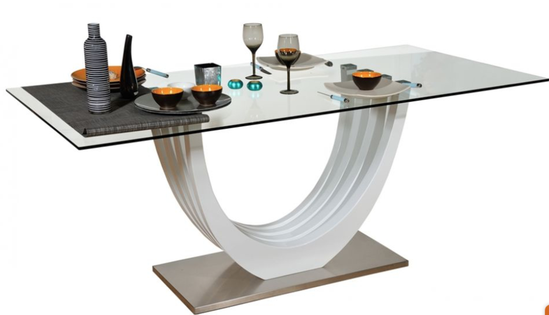 table manger laqu e blanc bridge. Black Bedroom Furniture Sets. Home Design Ideas