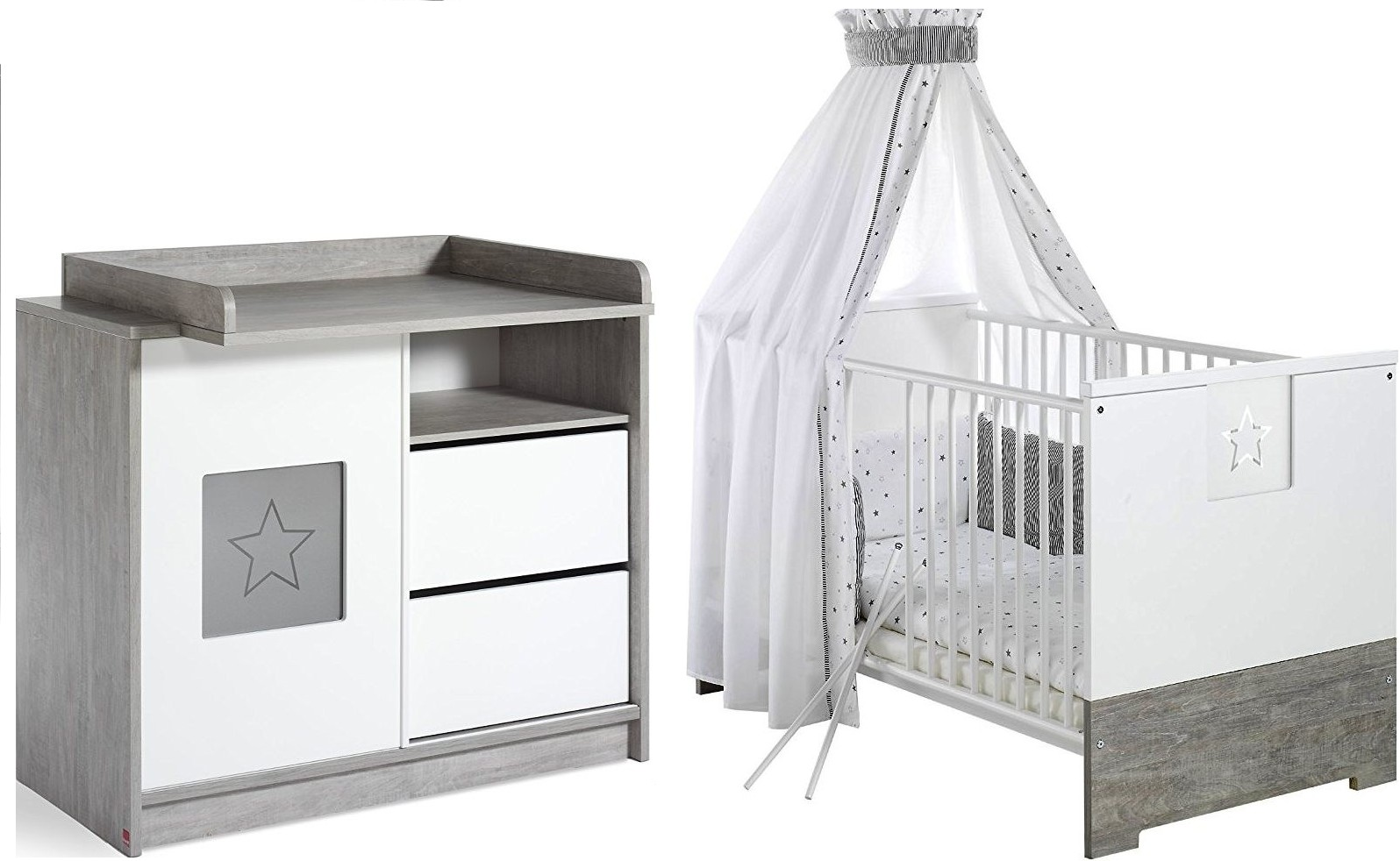 pack duo chambre bois massif gris et blanc eco star. Black Bedroom Furniture Sets. Home Design Ideas