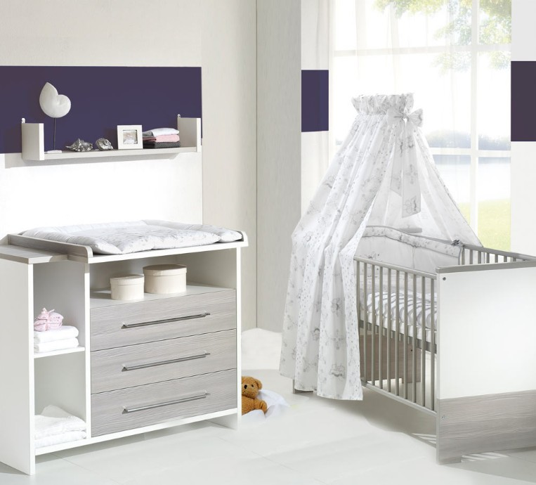 pack duo chambre pin taupe et blanc millenium. Black Bedroom Furniture Sets. Home Design Ideas