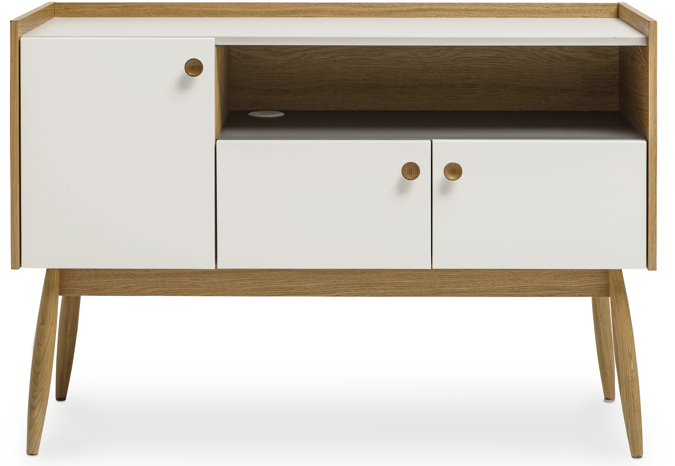 petit buffet 3 portes et 1 niche bois naturel et blanc martin. Black Bedroom Furniture Sets. Home Design Ideas