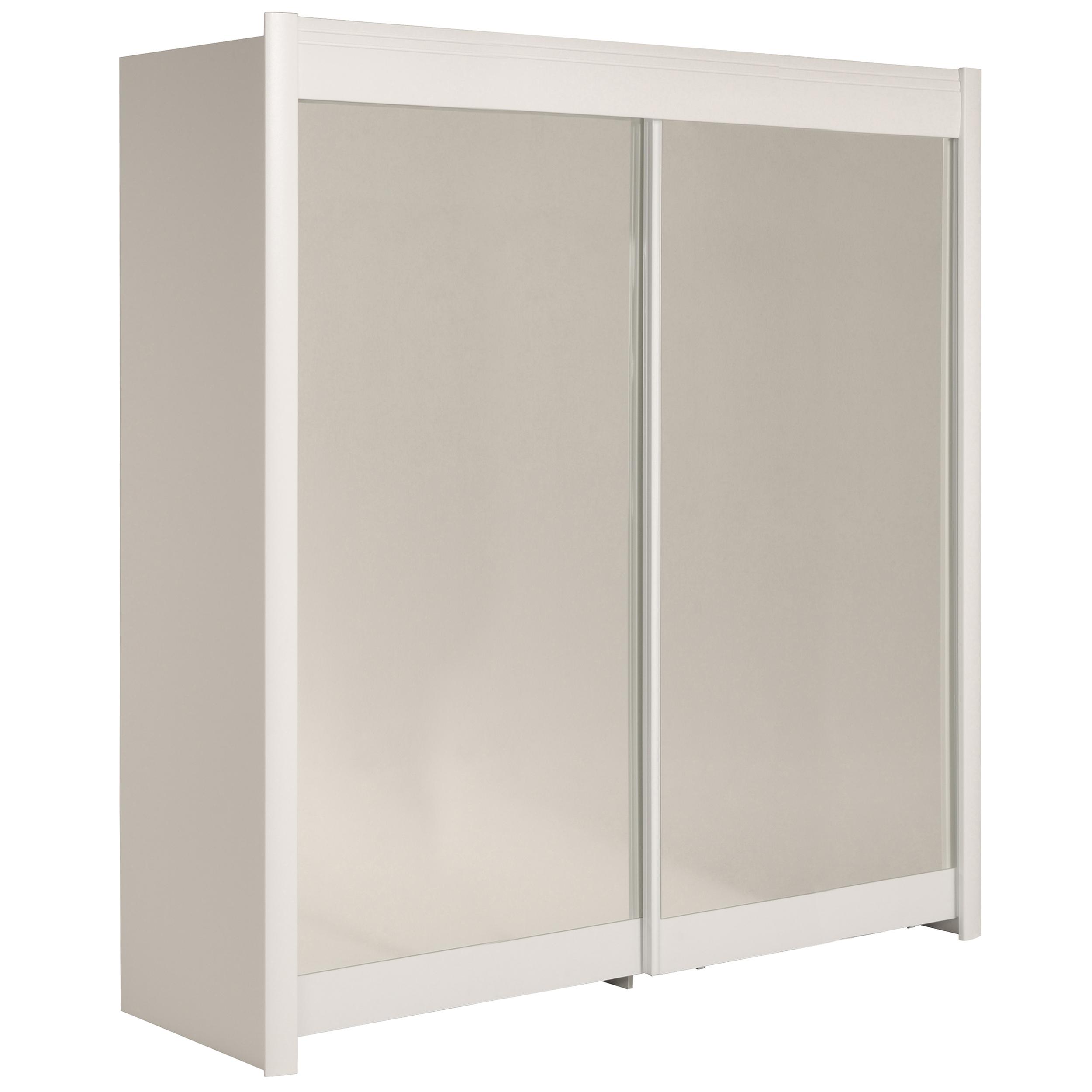 armoire 2 portes coulissantes bois blanc malix 200. Black Bedroom Furniture Sets. Home Design Ideas