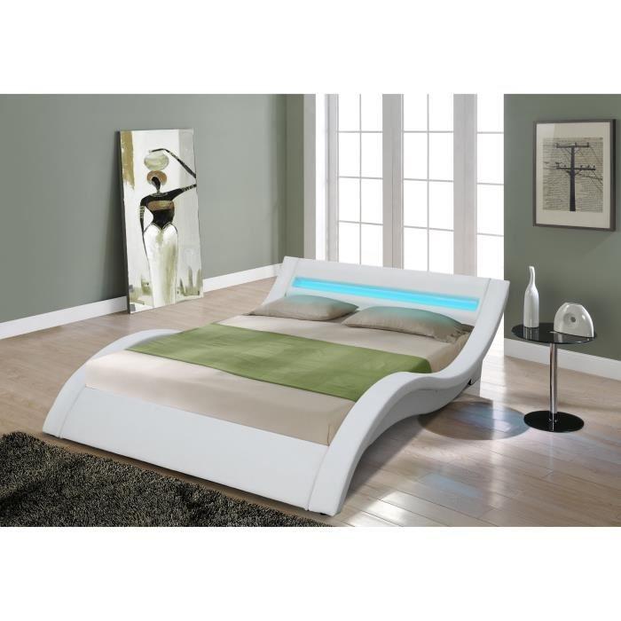 les tendances lit moderne blanc simili 140 smiss. Black Bedroom Furniture Sets. Home Design Ideas