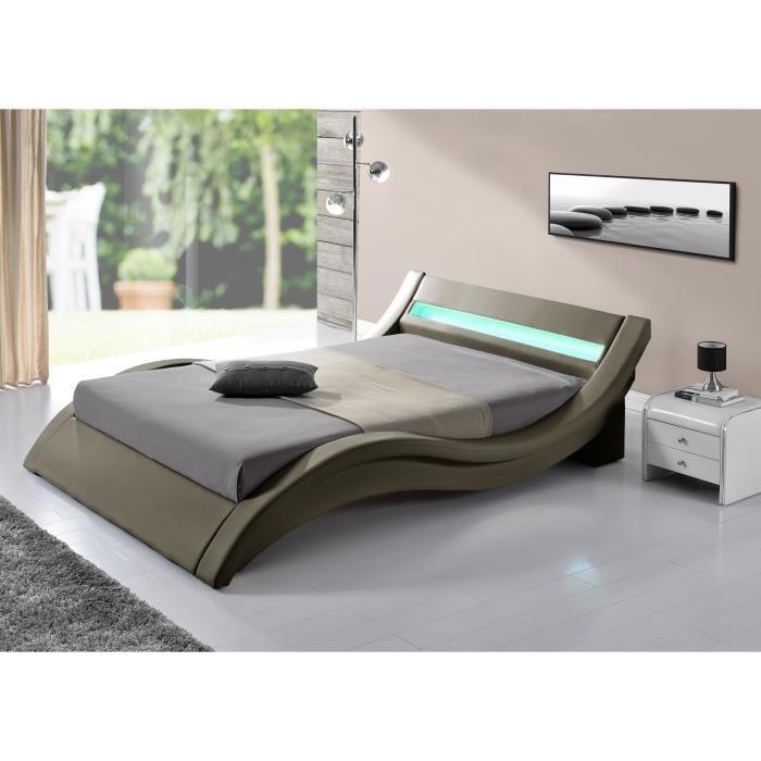 lit moderne taupe simili 180 smiss. Black Bedroom Furniture Sets. Home Design Ideas